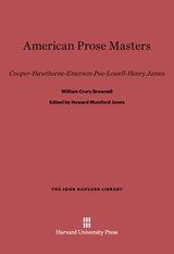 Cover: American Prose Masters: Cooper—Hawthorne—Emerson—Poe—Lowell—Henry James