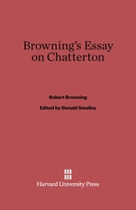 Cover: Browning's Essays on Chatterton