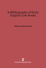 Cover: A Bibliography of Early English Law Books