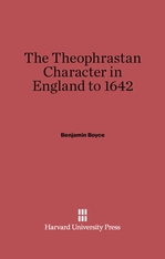 Cover: The Theophrastan Character in England to 1642