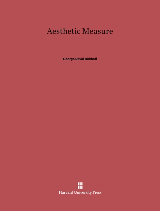 Cover: Aesthetic Measure, from Harvard University Press