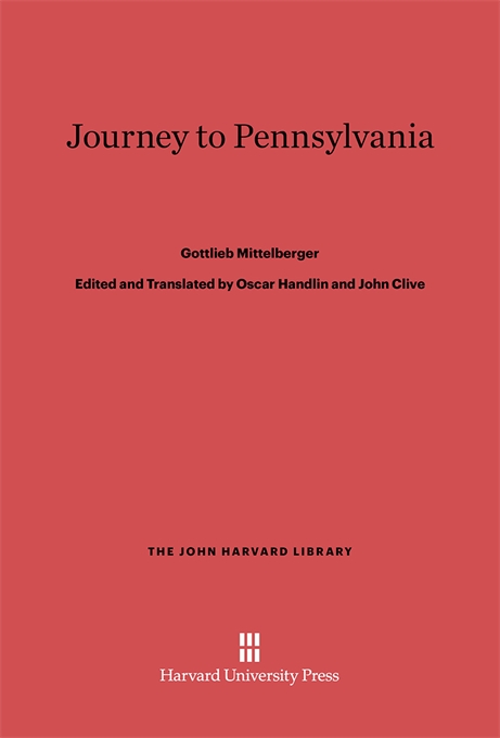 Cover: Journey to Pennsylvania, from Harvard University Press