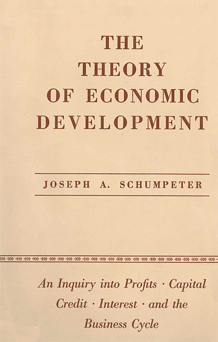 Cover: The Theory of Economic Development: An Inquiry into Profits, Capital, Credit, Interest, and the Business Cycle, from Harvard University Press