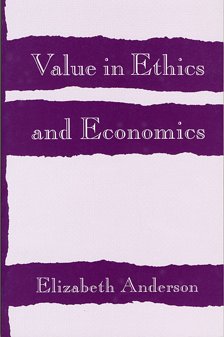 Cover: Value in Ethics and Economics, from Harvard University Press