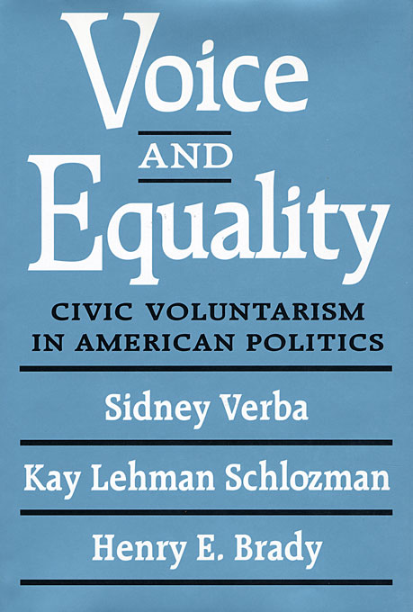 Cover: Voice and Equality: Civic Voluntarism in American Politics, from Harvard University Press