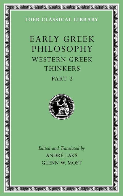 Cover: Early Greek Philosophy, Volume V: Western Greek Thinkers, Part 2, from Harvard University Press
