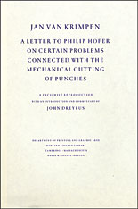 Cover: Jan van Krimpen: A Letter to Philip Hofer on Certain Problems Connected with the Mechanical Cutting of Punches